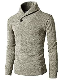 H2H Mens Knited Slim Fit Pullover Sweater Shawl Collar With One Button Point IVORY US XL/Asia XXL (KMOSWL036)