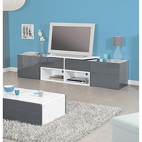 MOVE Meuble TV 2 portes contemporain laqué blanc et gris anthracite brillant - L 205 cm