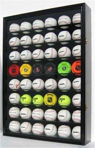 48 Baseball/Hockey Puck Display Case Wall Cabinet, UV Protection Door, Lock. B48-BL (48 Baseball Display Case compare prices)