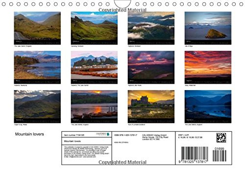 Mountain Lovers (Wall Calendar 2017 DIN A4 Landscape): Beautiful Mountain Views (Monthly calendar, 14 pages) (Calvendo Nature)