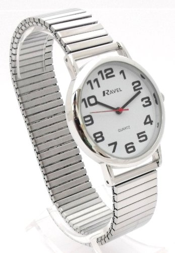 Mens Easy Read Silver Expanding/Expander/Expansion Bracelet Band Watch (R0208.02.1S)