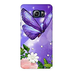 Delighted Voilate Butterfly Back Case Cover for Galaxy Note 5
