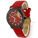 Prema BEAUTIFUL Cheap Womens Quartz Leather Band Watch with crystals in RED!