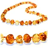 The Art of CureTM *SAFETY KNOTTED* Honey 1x1 - Certified Baltic Amber Baby Teething Necklace - w/The Art of CureTM Jewelry Pouch (SHIPS AND SOLD IN THE USA)