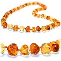 *SPECIAL PROMOTION*The Art of CureTM *SAFETY KNOTTED* Honey 1x1 - Certified Baltic Amber Baby Teething Necklace - w/The Art of CureTM Jewelry Pouch (SHIPS AND SOLD IN THE USA)
