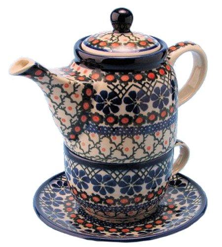 New Polish Pottery TEA FOR ONE SET Boleslawiec CA Pattern 854a Euro Stoneware