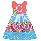 Rare Editions Big Girls Coral Polka Dot Stripe Floral Applique Dress 7-16