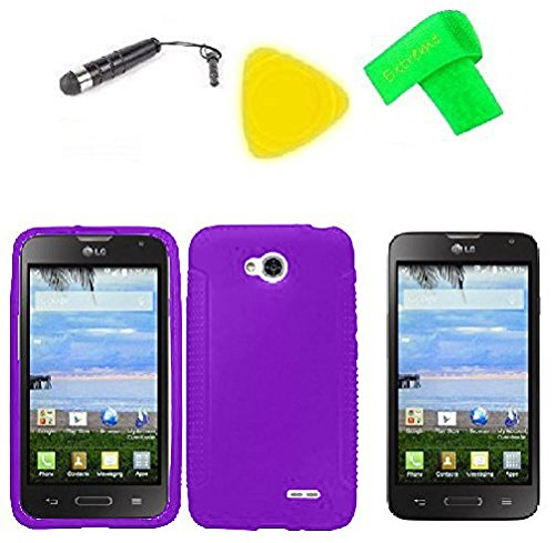 Phone Cover Case Cell Phone Accessory + Extreme Band + Stylus Pen + Lcd Screen Protector + Yellow Pry Tool For Straight Talk Lg Ultimate 2 L41C (Silicone Purple)
