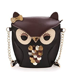 Cute Black Brown Owl Bag / Coin Purse