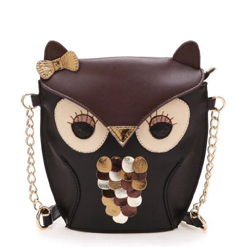 Cute Black Brown Owl Bag / Coin Purse