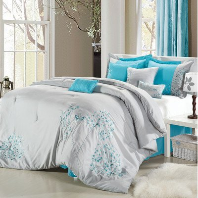 Pink Floral 12 Piece Comforter Set Size: Queen, Color: Gray