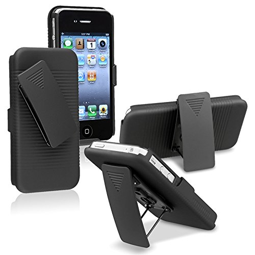 BLACK RUBBERIZED CASE + BELT CLIP HOLSTER FOR iPHONE 4 By SportyGigabite (Iphone 4 Belt Holder compare prices)