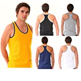 BRITWEAR Mens Coloured 100% Cotton Fitted Ultra Rib Muscle Gym Top Vest Singlets