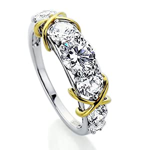 Platinum Plated Sterling Silver Wedding & Engagement & Anniversary Ring Seven Stone with 14K Yellow Gold Plated Knot, Round Cut 1Carat Cubic Zirconia (Size 5 to 9) by Double Accent