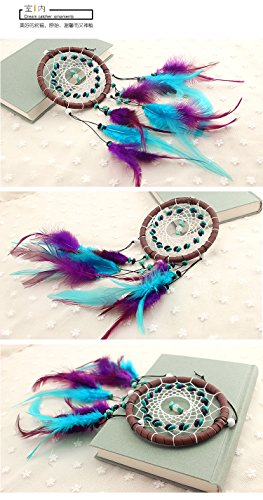 UPmall Circle-shaped Dream Catcher with Feathers Wall Hanging Decoration Ornament for Car ,Home ,Bedroom