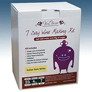 Home Brew & Wine Making - VinClasse® Italian Style White Wine 7 Day (Sugar Required) Ingredient Kit For 30 Bottles