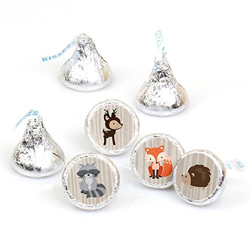 woodland-creatures-baby-shower-or-birthday-party-round-candy-sticker-favors-labels-fit-hersheys-kiss
