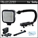 Deluxe LED Video Light + Video Stabilizer Kit For Sony DCR-SX45 Handycam Camcorder Includes AXIS-G Camcorder Action Stabilizing Handle + Deluxe LED Video Light Kit With Support Bracket + 2 Li-Ion Batteries And Charger + More