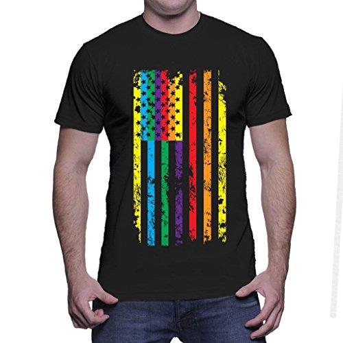 Mens Big Rainbow American Flag - Gay Pride T-shirt