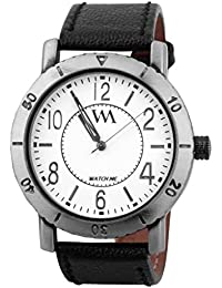 Watch Me White Dial Black Leather Watch For Men And Boys WMAL-075-W