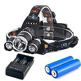 Gracetop XMLT6 LEDヘッドライト 新5000ルーメン ヘッドランプ 新点灯モード USBボート リチウムイオン電池2本付