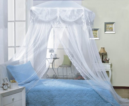 White four corner square princess bed canopy by sid for Rectangle bed canopy