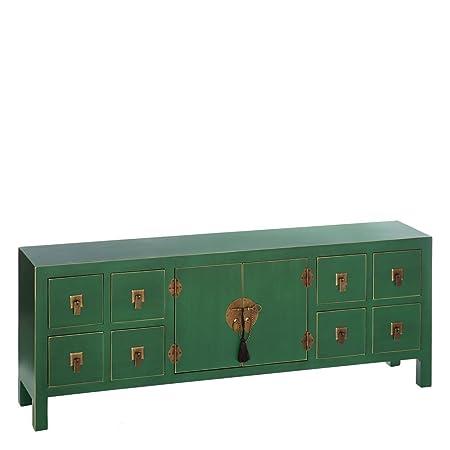 AXIDECOR - Mueble Auxiliar - Cómoda ORIENTE Verde 8 Cajones 2 Puertas - iBERGADA