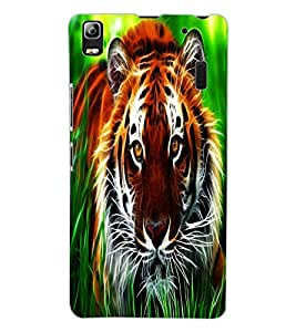 ColourCraft Tiger Look Design Back Case Cover for LENOVO A7000 PLUS
