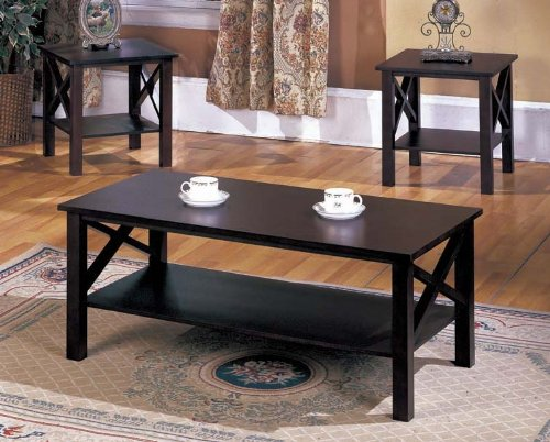 Kings Brand 3 Pc. Cherry Finish Wood X Style Casual Coffee Table & 2 End Tables Occasional Set