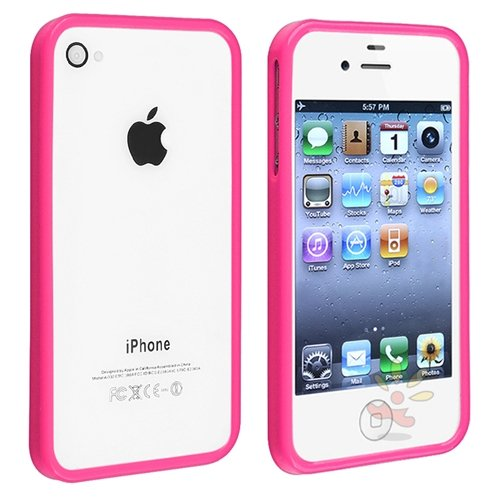For Apple® iPhone® 4/4S Bumper TPU Case , Pink Shinny