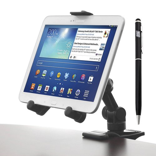 Ikross Universal 2-In-1 Clip And Attach Desk Mount Holder + Capacitive 2 In 1 Touch Screen Stylus With Ball Point Pen For Lg G3, Volt, Optimus Exceed 2, Optimus L90, Optimus L70, Lucid 3, Optimus Zone 2, G Pro 2, Optimus F3Q, G Flex G2; Nokia Lumia 1320/