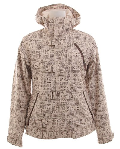 Burton Dream Snowboard Jacket Chestnut Paper Print Womens Sz S