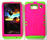 CellPhone Trendz Hybrid 2 in 1 Case Hard Cover Faceplate Skin Lime Green Silicone and Barbie Pink Snap Protector for Motorola Droid Razr Maxx HD XT926M by Verizon (Not for Droid Razr Maxx)