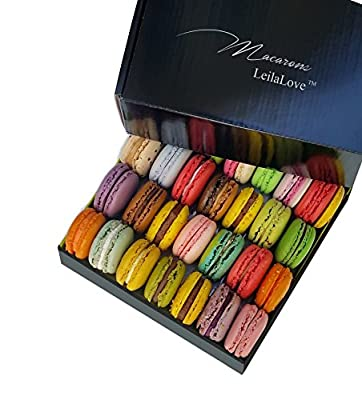 Leilalove Macarons - 16 Parisian Macarons up to dozen Flavors Assortment- Elegant Gentleman style box from Leilalove, Inc