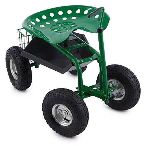 Waldbeck-Park-Ranger-Gartensitz-Rollsitz-Gartenhelfer-Gartenwagen-130-kg-Belastbarkeit-fahrbar-Ablage-Stahl-grn