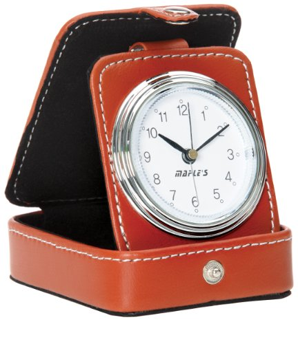 Maple's Travel Table Alarm Clock with Brown Leather Case