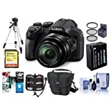 Panasonic Lumix DMC-FZ300 12.1MP Digital Camera 24x Zoom - Bundle With Camera Case, 32GB U3 SDHC Card, Spare Battery, 52mm UV Filter, Tripod, Cleaning Kit, Memory Wallet, Software Package