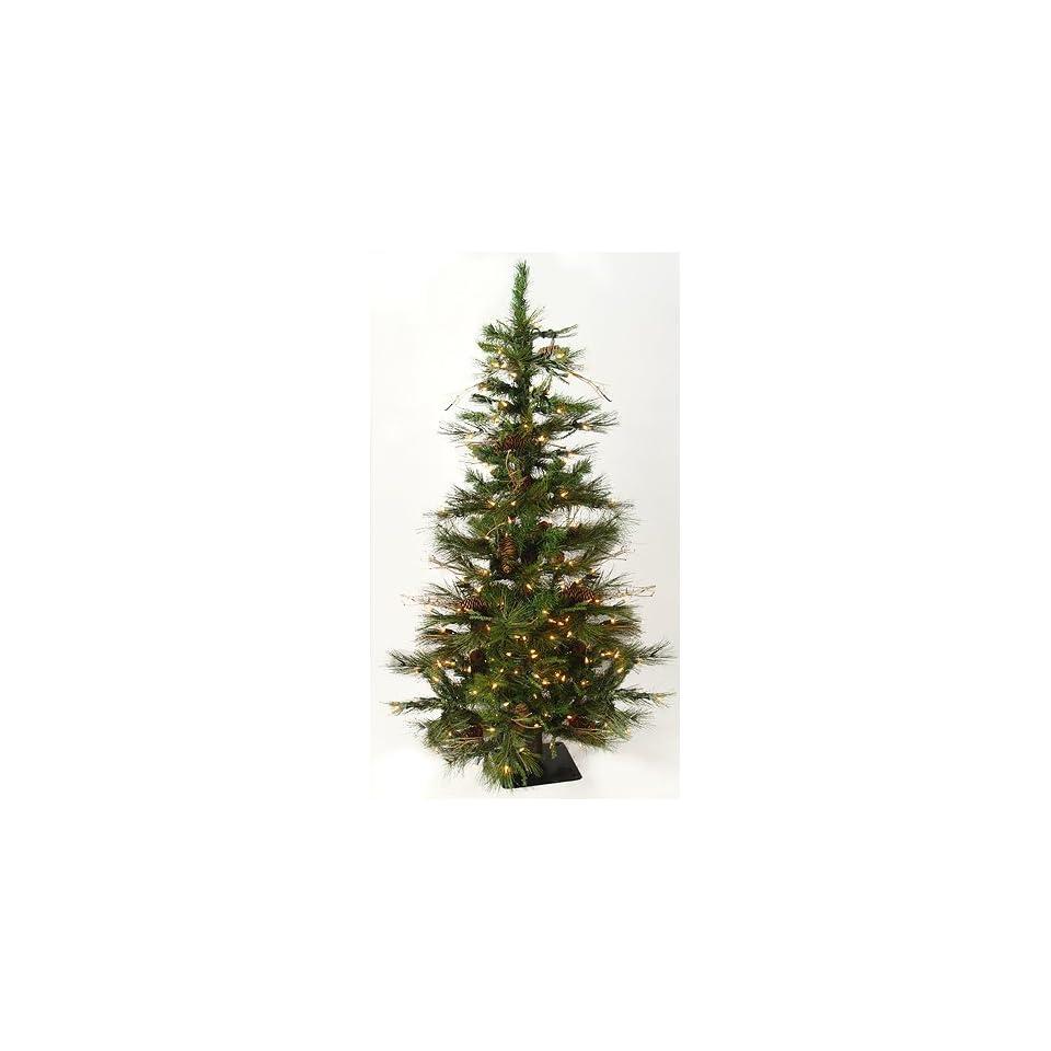 4 Pre Lit Ashland Fir Artificial Christmas Tree w/ Pine Cones   Clear Lights