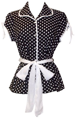 50's Rockabilly Polka Dot Top JR Plus Size
