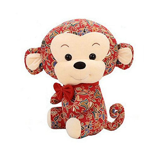 1 Pcs/25 Cm Cute Zodiac Monkey Mascot Plush Pull Doll Toy New Year Gift + 1Pcs Free Card Form FJTANG + 5 Pcs Free Gift Bag From FJTNAG