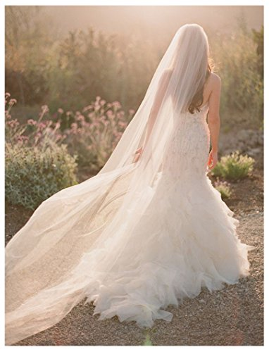 Shine Love Soft Tulle Wedding Bridal Veil 3 Meters Long Cathedral Veil For Bride 11044