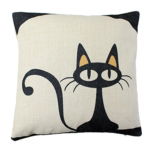[Cute Cartoon Black Cat Sofa Simple Home Decor Design Throw Pillow Cover Pillow Case 18 x 18 Inch Cotton Linen] (Cute Halloween Pictures Of Cats)