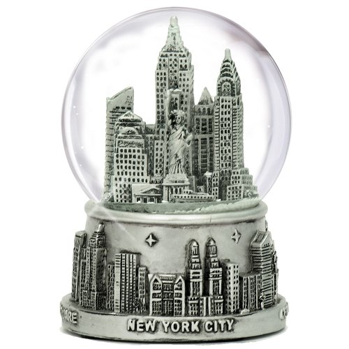 New York City Silver Lined Snow Globe 65mm NYC Souvenir (3.5 Inches Tall)