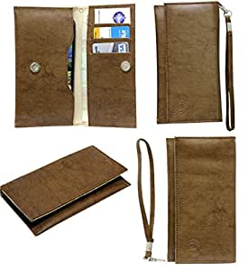 Jo Jo A5 G3 Leather Wallet Universal Pouch Cover Case For Alcatel One Touch Fierce XL Light Brown