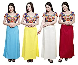 Pistaa combo of Women's Soft Cotton Light Rama, Lemon Yellow, Cream and Rani Pink Color Best Stylish Readymade Inskirt Saree petticoats
