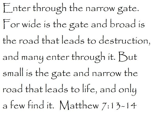 Enter through the narrow gate. For wide is the gate and broad is the road that leads to destruction, and many enter through it. But small is the gate and narrow the road that leads to life, and only a few find it. Matthew 7:13-14 - Wall and home scripture, lettering, quotes, images, stickers, decals, art, and more!