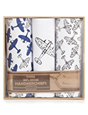 3 Pack Pure Cotton Plane Print Handkerchiefs