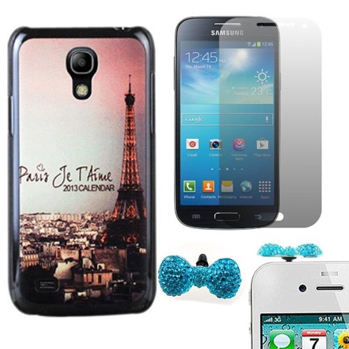 Vandot 3In1 Mobile Phone Accessories For Samsung Galaxy S4 Mini I9190 Hard Back Case Cover Skin Shell + 1X Bling Anti Dust Plug Earphone Jack Cap Bow Tie (Random Color) + 1X Screen Protector Lcd Guard Film Clear Crystal- Effel Tower City Ultra Slim