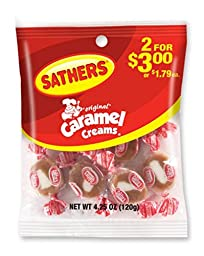 Sathers Caramel Creams Candy, 4.25 Ounce Bag, Pack of 12