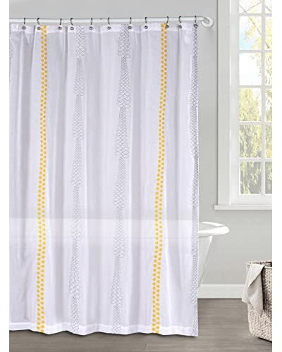 Duck River Textile Kettering Braid Shower Curtain, Grey/Goldenrod